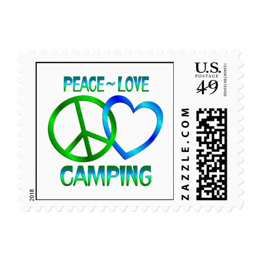 Peace Love Camping Postage Stamp
