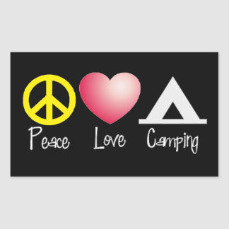 Peace, Love, Camping Rectangular Sticker
