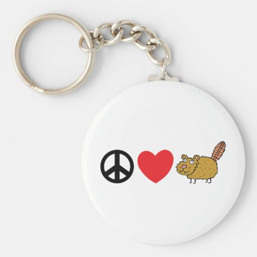 Peace Love Canadian Beaver Keychain
