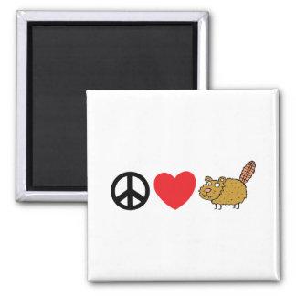 Peace Love Canadian Beaver Fridge Magnet