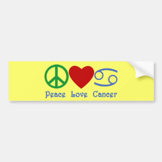 Peace Love Cancer Zodiac Symbol Bumper Sticker