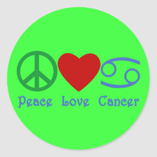 Peace Love Cancer Zodiac Symbol Classic Round Sticker