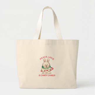 PEACE LOVE CANDY CANES JUMBO TOTE BAG