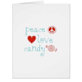 Peace Love Candy Large Greeting Card