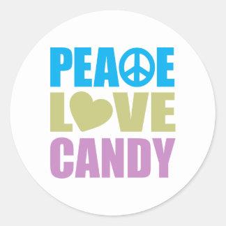 Peace Love Candy Classic Round Sticker