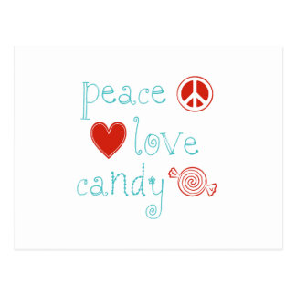 Peace Love Candy Postcard