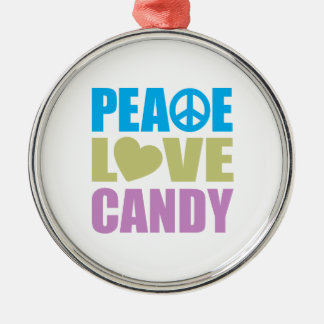 Peace Love Candy Round Metal Christmas Ornament