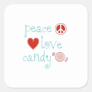 Peace Love Candy Square Sticker
