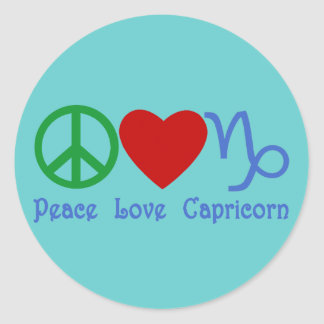 Peace Love Capricorn Zodiac Design Classic Round Sticker