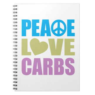 Peace Love Carbs Spiral Notebook