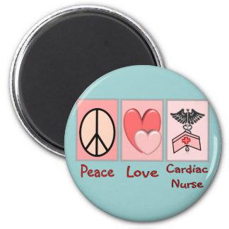Peace Love Cardiac Nurse Refrigerator Magnet