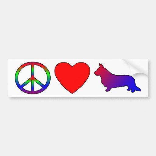 Peace Love Cardigan Welsh Corgis Bumper Sticker
