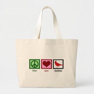 Peace Love Cardinals Large Tote Bag