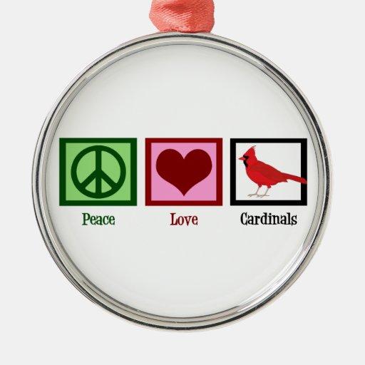 Peace Love Cardinals Christmas Ornaments