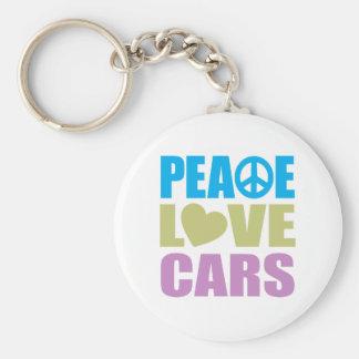 Peace Love Cars Basic Round Button Keychain
