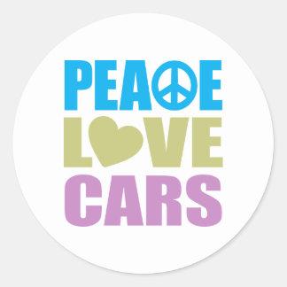 Peace Love Cars Classic Round Sticker