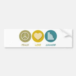 Peace Love Cashier Car Bumper Sticker