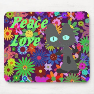 Peace Love Cat Mouse Pad