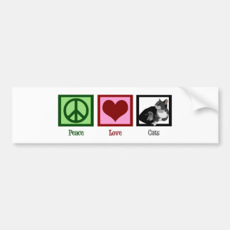 Peace Love Cats Cute Bumper Sticker
