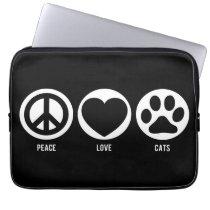 Peace Love Cats Neoprene Laptop Sleeve