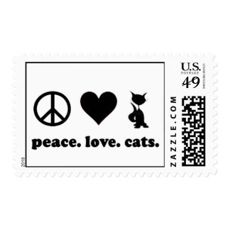Peace. Love. Cats. Postage Stamp