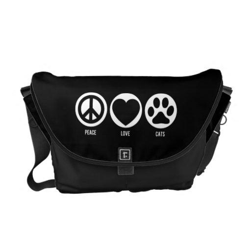 Peace Love Cats Rickshaw Messenger Bag