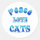 PEACE LOVE CATS ROUND STICKER