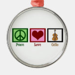 Peace Love Cello Round Metal Christmas Ornament
