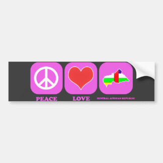 Peace Love Central African Republic Bumper Sticker