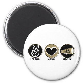 Peace Love Cheer Black/Gold Refrigerator Magnets