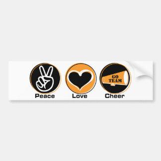Peace Love Cheer black/orange Bumper Sticker