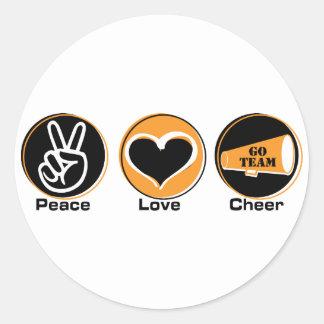 Peace Love Cheer black orange Round Stickers