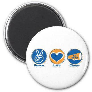 Peace Love Cheer Blue/Orange 2 Inch Round Magnet