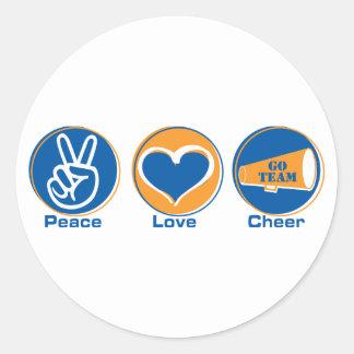 Peace Love Cheer Blue Orange Stickers