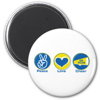 Peace Love Cheer Blue/Yellow 2 Inch Round Magnet