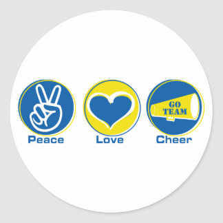 Peace Love Cheer Blue Yellow Round Stickers