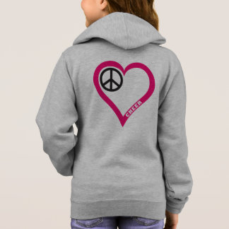 Peace Love Cheer Girl's White Zip Hoodie