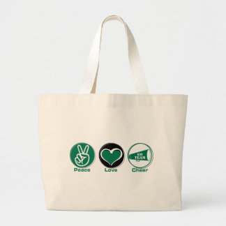 Peace Love Cheer Green Tote Bags