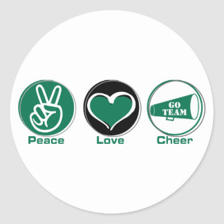 Peace Love Cheer Green Classic Round Sticker