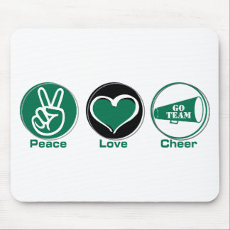 Peace Love Cheer Green Mouse Pad
