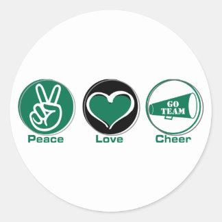 Peace Love Cheer Green Round Sticker