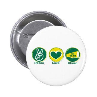 Peace Love Cheer Green/Yellow Button