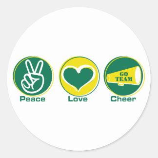 Peace Love Cheer Green/Yellow Classic Round Sticker