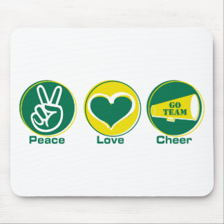 Peace Love Cheer Green/Yellow Mouse Pad