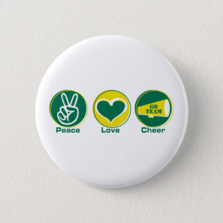 Peace Love Cheer Green/Yellow Pinback Button