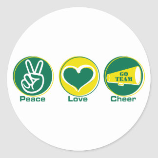 Peace Love Cheer Green Yellow Round Stickers