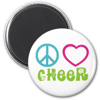 Peace Love Cheer 2 Inch Round Magnet