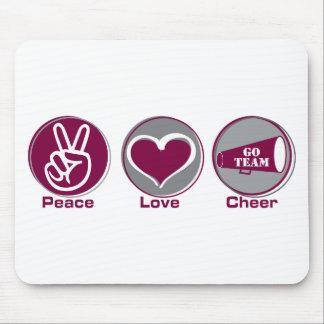 Peace Love Cheer Marron/Grey Mouse Pad