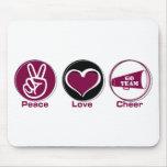 Peace Love Cheer Marron Mouse Pad