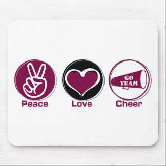 Peace Love Cheer Marron Mouse Pads
